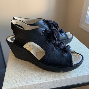 Fly London leather lace up wedge , black size 9
